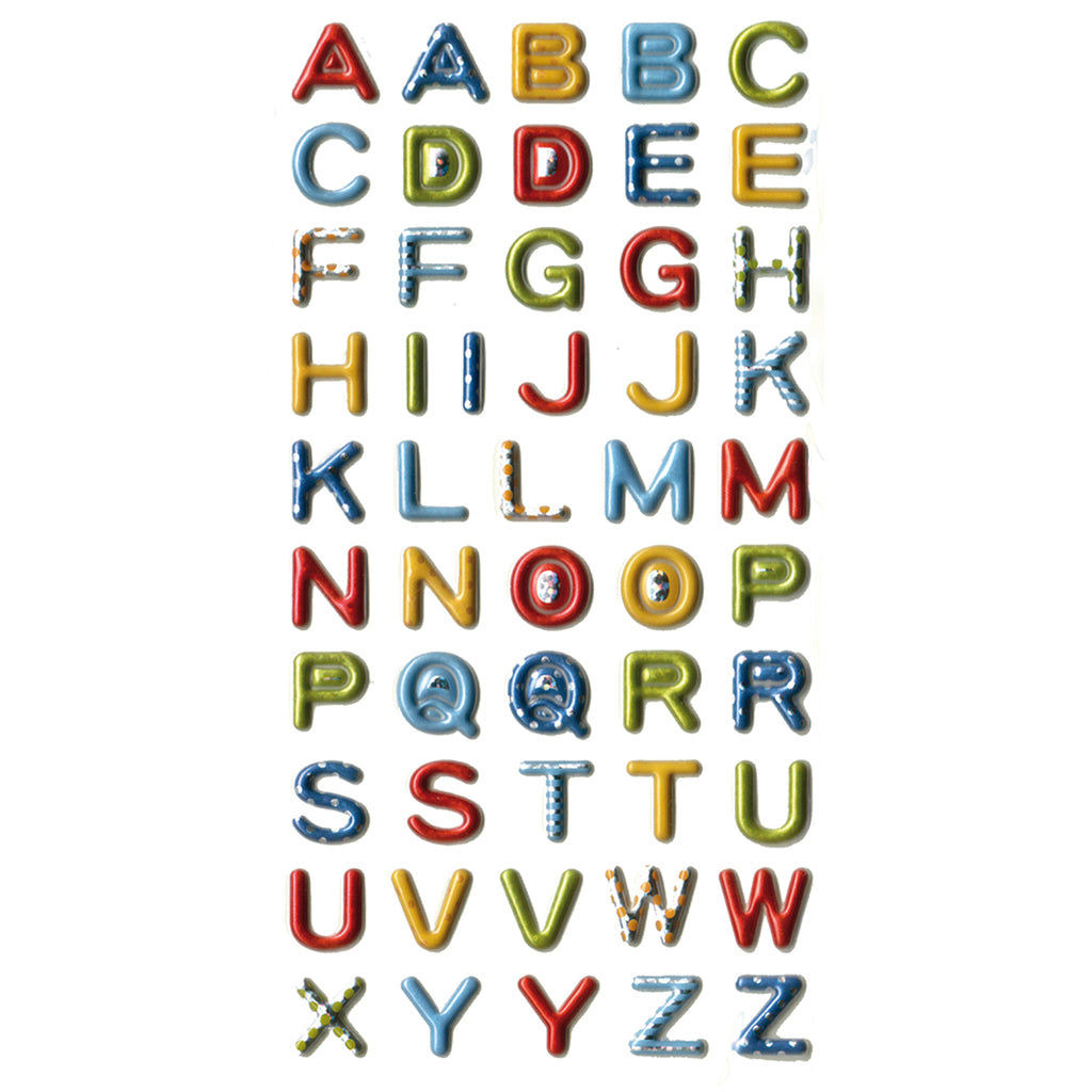3DF-MPRABC-R - Tim The Toyman 3D Metallic Alphabet Stickers