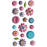 3DF-MSFLOW-R - Tim The Toyman 3D Metallic Flower Stickers