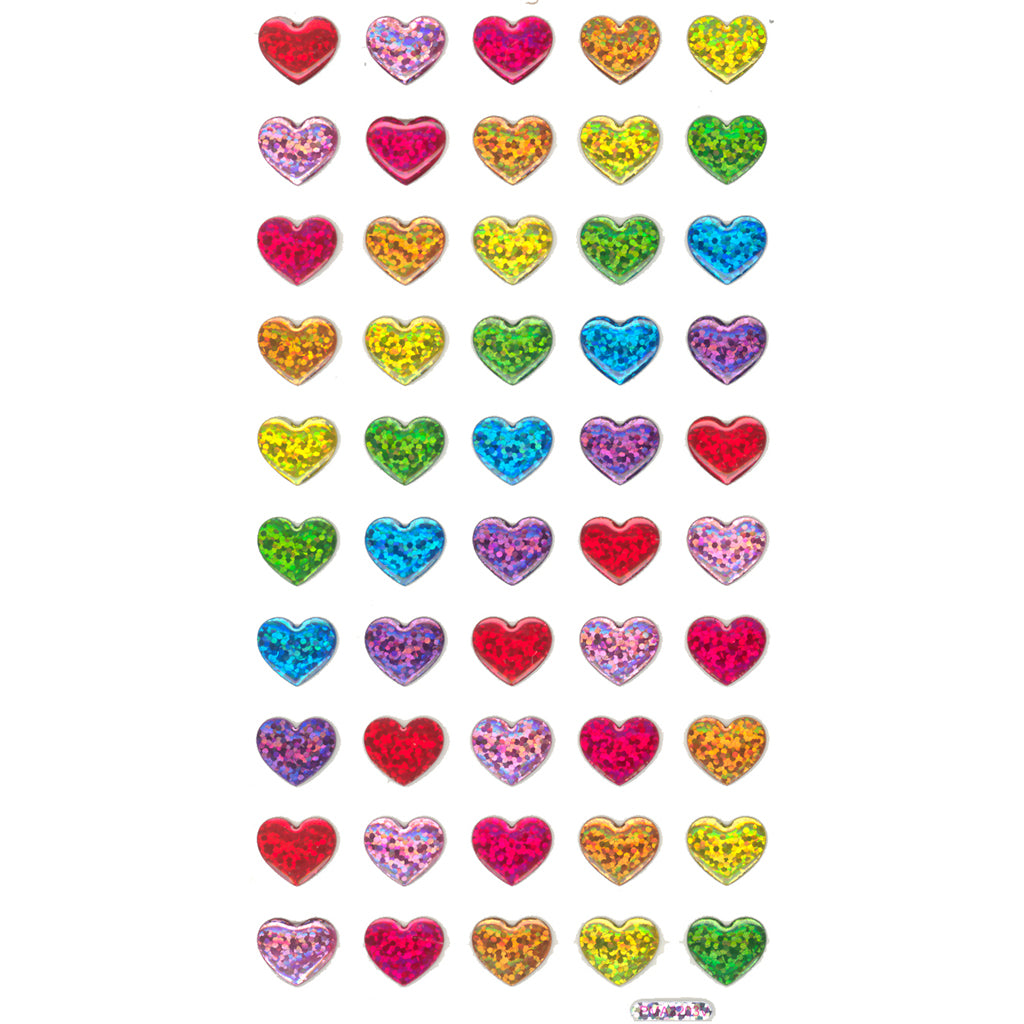 CY-HEARTS-R - Tim The Toyman Rainbow Heart Stickers