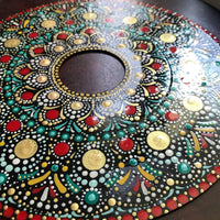 45 Vinyl Record Mandala in Red, Gold, Blue Yellow