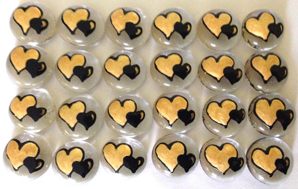 DOUBLE HEARTS - Black & Gold