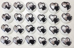 DOUBLE HEARTS - Black & Silver on White