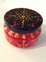 Bohemian Inspired Red, Gold & Purple Jar