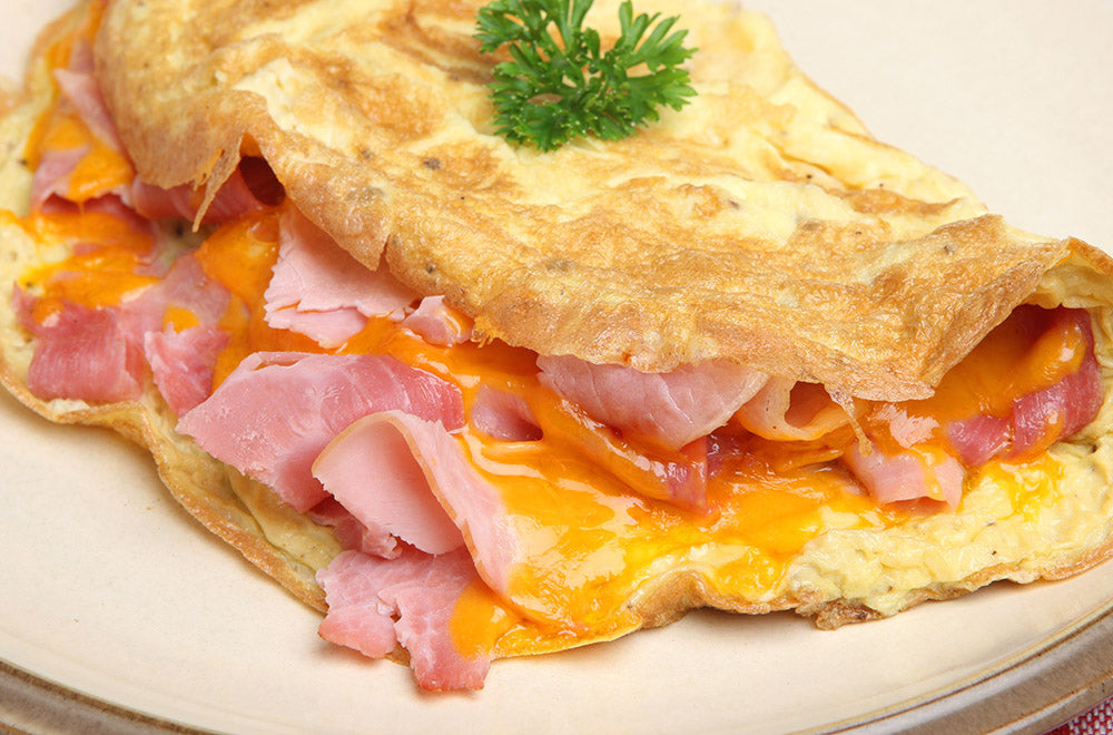 Cheese-and-ham-omelette-with-bacon-seasoning