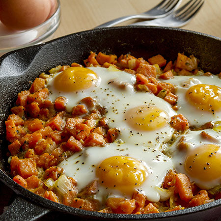 Sweet Potatoes and Eggs with Bacon Seasoning