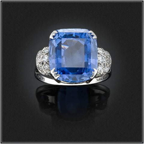 SAPPHIRE AND DIAMOND PLAQUE RING