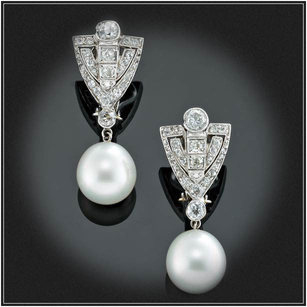 VINTAGE PEARL AND DIAMOND PENDANT EARRINGS