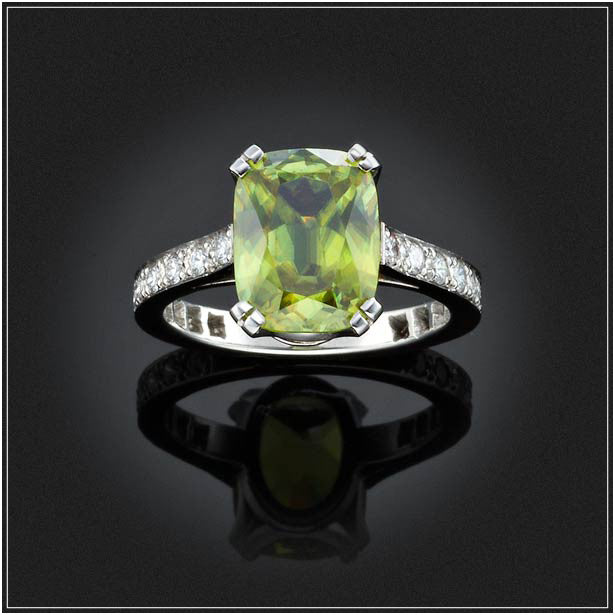 TITANITE AND DIAMOND RING
