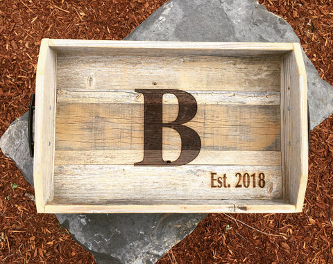 Reclaimed Wood Trays - Letters & Name Burns