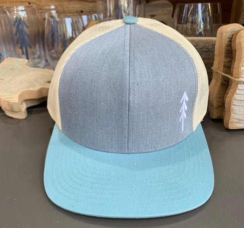 Tree Logo Snap Back Hat - Teal and White