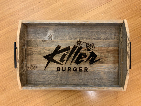 Reclaimed Wood Trays - Custom Logo Burn