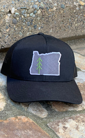 Oregon Patch Tree Logo Snap Back Hat - Black