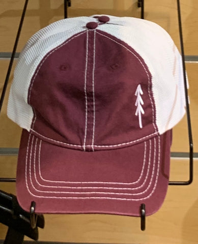 Tree Logo Snap Back Hat - Maroon and White