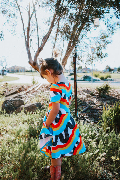 Rainbow Scribble Dress *Size 2 left