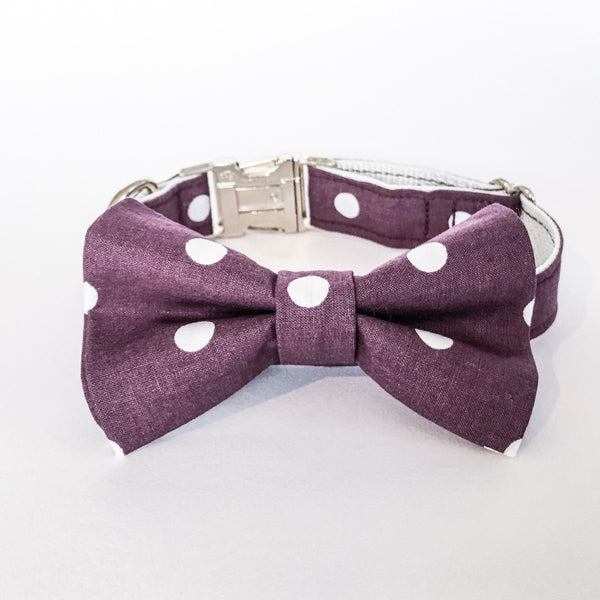 DOTS ON BURGUNDY BOW TIE COLLAR