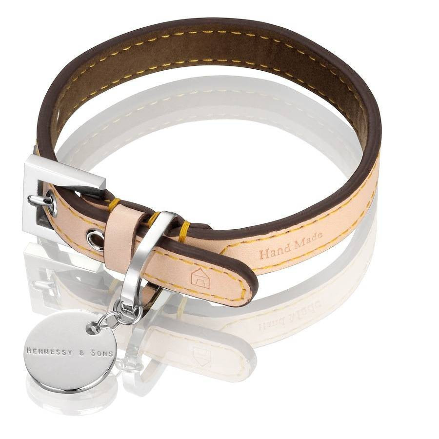 NATURAL LV LEATHER CHOCOLATE COLLAR