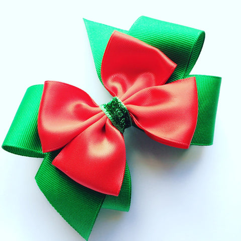 Green and Red Holiday Hair bow