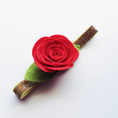 Felt Red Rose Flower Headband