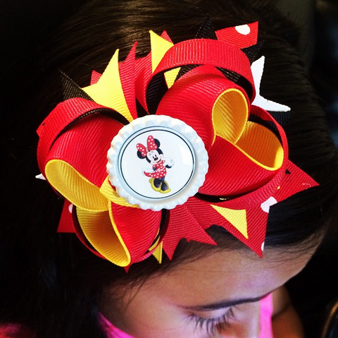 Red and White Minnie Mouse Bow