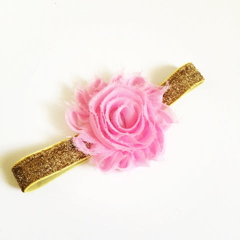 Pink Shabby Flower with Gold Headband