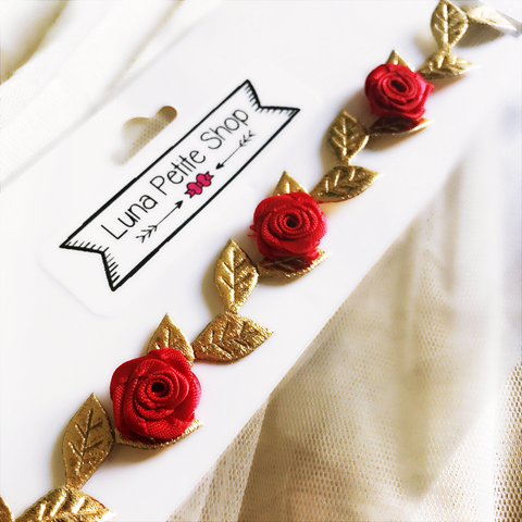 Red Gold Rose Headband