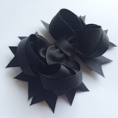 Black Stacked Hair Bow