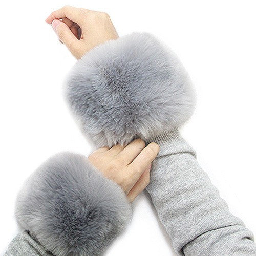 *Faux Fur Wrist Mufflers/Warmers-Grey Pair - g.e.llc•Style