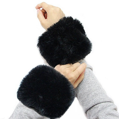 Faux Fur Wrist Mufflers/Warmers-Black Pair - g.e.llc•Style