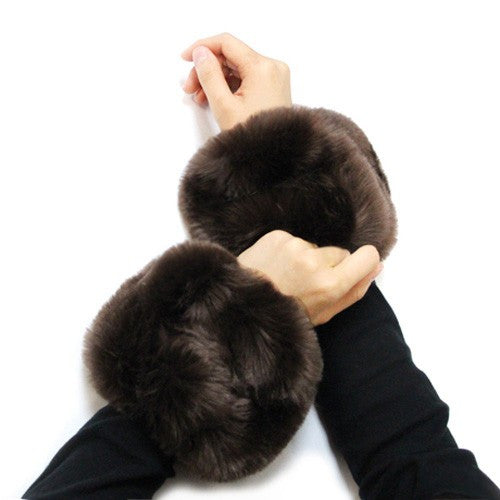 *Faux Fur Wrist Mufflers/Warmers-Brown Pair
