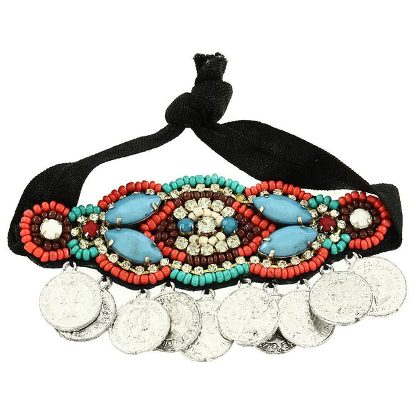 "*[HPC]-Colorful Indian Beads With Coin Discs Embellished Headband Tie - jewelz by julz...""The Collection!"""