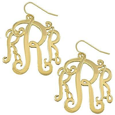 "*[E/R]-Monogram Earring ~R~ Goldtone - jewelz by julz...""The Collection!"""