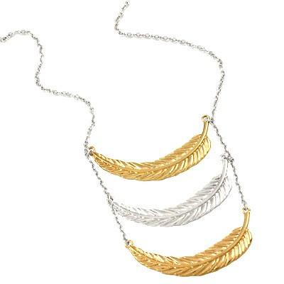 "*[N/L]-Tri-Leaf Multi-Metal Necklace- Gold/Silvertone - jewelz by julz...""The Collection!"""