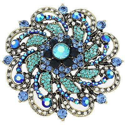 "*[BRC]-Round Rhinestone & Gems Brooch- Blue - jewelz by julz...""The Collection!"""