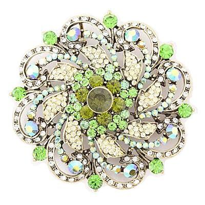 "*[BRC]-Round Rhinestone & Gems Brooch- Green - jewelz by julz...""The Collection!"""