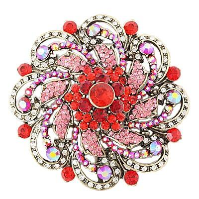 "*[BRC]-Round Rhinestone & Gems Brooch- Red - jewelz by julz...""The Collection!"""