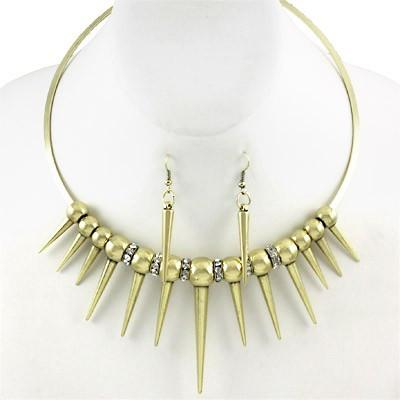 "*[N/LS] Goldtone Spike Choker Set With Rhinestone Embellishments - jewelz by julz...""The Collection!"""