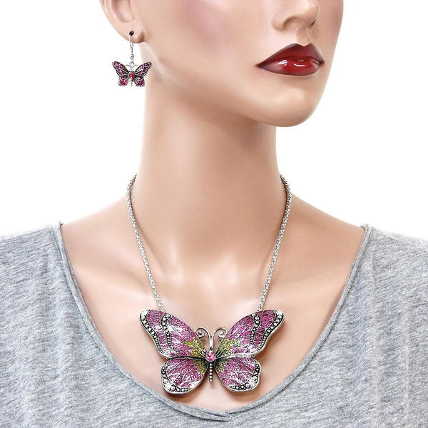 "*[N/LS]-Pink Butterfly Necklace Set - jewelz by julz...""The Collection!"""