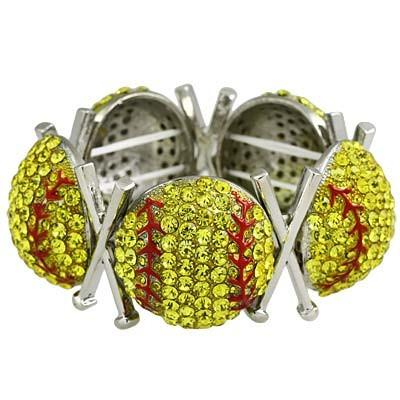 "*[B/L]-Rhinestone Softball Stretch Bracelet - jewelz by julz...""The Collection!"""