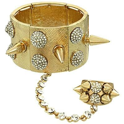 "*[B/L]-Rhinestone Spike Cuff & Ring Bracelet - jewelz by julz...""The Collection!"""