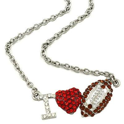 "*[N/L]-Silvertone Bling ""I Heart Football"" Necklace- Brown - jewelz by julz...""The Collection!"""