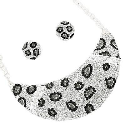 "*[N/LS]-Rhinestone Animal Print Necklace Set- Silvertone - jewelz by julz...""The Collection!"""