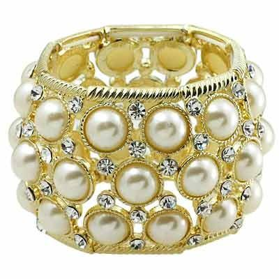 "*[B/L]-Goldtone & Pearl Stretch Statement Bracelet - jewelz by julz...""The Collection!"""