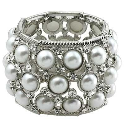"*[B/L]-Silvertone & Pearl Stretch Statement Bracelet - jewelz by julz...""The Collection!"""
