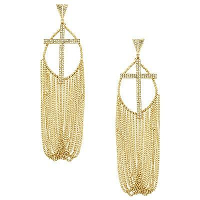 "*[E/R]-Rhinestone Cross and Chains Drape Earrings - jewelz by julz...""The Collection!"""