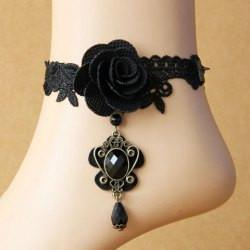 "*[ANK]-Black Rose Ankle Choker with Gem Anklet - jewelz by julz...""The Collection!"""