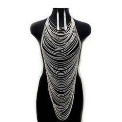 "*[B/J]-Dramatic Multi Layered Chain Drop Body Chain Set- Silvertone - jewelz by julz...""The Collection!"""