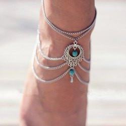 "*[ANK]-Draped Silvertone W/ Blue Accent Foot Jewelry (Anklet) - jewelz by julz...""The Collection!"""