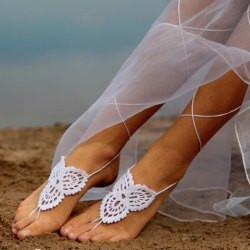 "*[ANK]-Stylish White Weave Barefoot Sandals - jewelz by julz...""The Collection!"""