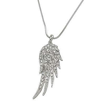 "*[N/L]-Rhinestone Angel Wing Pendant Necklace- Silvertone - jewelz by julz...""The Collection!"""