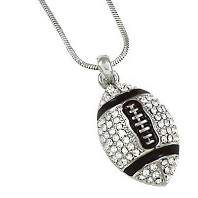 "*[N/L]-Rhinestone Football Pendant Necklace - jewelz by julz...""The Collection!"""
